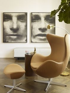 Egg Chair paired with large-scale portrait photography: Nice!