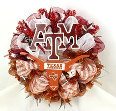 Texas Longhorns/ Texas A&m Aggies Fan  House Divided Deco Mesh Door Wreath by Crazyboutdeco on Etsy
