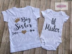 Big sister, Little mister shirt, Baby boy coming home outfit, newborn boy, Little brother, Proud big sister, brother sister matching outfits