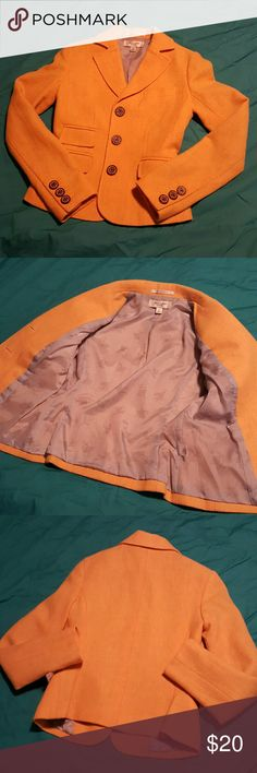 """Paul Joe Yellow Blazer Like new condition inside and out.  100% shetland wool in mustard yellow (4th photo best depicts color) with brown leather buttons. Fully lined and gorgeous. From the Paul & Joe Target line. Runs small so please check measurements. Chest 16"""", waist 13""""', length 20"""", sleeve inseam 18.5"""". Paul & Joe Jackets & Coats Blazers"""