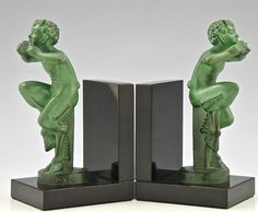 Original Art Deco satyr bookends by Mic, Max Le Verrier foundry, France 1925 (ebay)