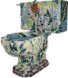 gardeny mosaic toilet