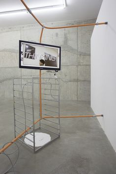 """Andrew Norman Wilson (feat. Nick Bastis), Olivia Erlanger """"Material Uncertainty"""" installation view at Fluxia, Milan, 2014"""