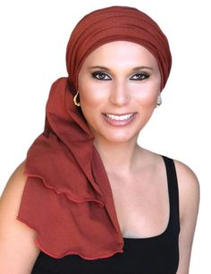 The Rust Jersey Turban is a 2-piece set of a fitted hat and matching scarf. The hat and scarf can be worn together or separately with any length of hair, to disguise hair loss or just add style to a b