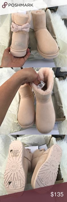UGG Mini Brigette Bow limited edition boots sz 9 UGG Mini Brigette Bow limited edition boots sz 9 NEW 100% authentic . Color name: freshwater pearl . QR READER scannable tag for authenticity. Item#och-do PLEASE NO LOW BALLING  UGG Shoes