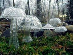 Glass bowls and vases to create garden mushrooms!