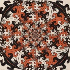 Smaller and Smaller, a tessellation by MC Escher, 1956 Mc Escher Art, Escher Kunst, Escher Drawings, Artwork Drawings, Escher Tessellations, Tessellation Art, Tesselations, Dutch Artists, Art Database