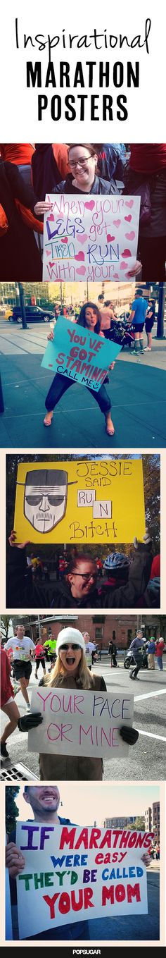 When the Going Gets Tough, Show Them One of These Marathon Posters Running Signs, Running Posters, Workout Posters, Running Humor, Workout Memes, Running Motivation, Running Workouts, Fitness Motivation, Marathon Signs