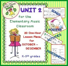 Over 100 pages of activities, songs and assessments for Unit 2. Includes extensive directions for how to teach songs, K-4th grade. There are 2 Resource Index files included for the many teachers who do not have access to books, recordings, and other materials.