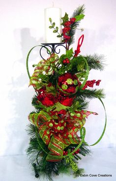 Christmas Floral Arrangement Candle Holder Holiday red lime 24 in beautiful mantel or table accessory by Cabin Cove Creations