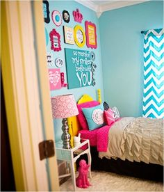 bright bedroom colors for girls. I love all the different colored frames