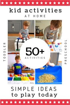 These FUN activities for kids at home are perfect ways to re-engage your child's interest in play. Use these simple at-home play prompts rather than resorting to screen time. Simple DIY setups for playtime you can make in minutes. Indoor Activities For Toddlers, Quiet Time Activities, Water Games For Kids, Toddler Learning Activities, Parenting Toddlers, Home Activities, Kids Learning, Motor Activities, Toddler Sensory Bins