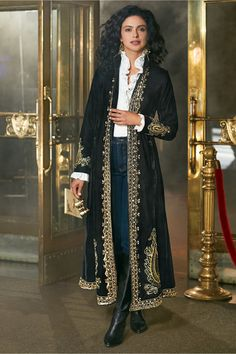 """Our stunning A-line duster is embellished with golden teardrop medallions of hammered discs, beads, sequins, and metallic threads on black micro-velvet. Stand collar, princess seams in front and back, front welt pockets, hook-and-eye closure. All embellishments are gold-colored. Petites 47"""" long. Vogue, Soft Surroundings, Looks Cool, Long Cardigan, Costume Design, Style Me, Cool Outfits, Autumn Fashion, Stylish Clothes"""