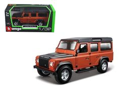 Land Rover Defender 110 4 Doors Orange 1/32 Diecast Model Car by Bburago - Brand new 1:32 scale diecast model of Land Rover Defender 110 Orange die cast car by Bburago. Rubber tires. Has opening front doors. Detailed interior, exterior. Comes in a plastic display showcase. Dimensions approximately L-5 inches long. Please note that manufacturer may change packing box at any time. Product will stay exactly the same.-Weight: 1. Height: 5. Width: 9. Box Weight: 1. Box Width: 9. Box Height: 5…