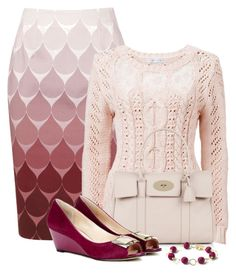 A fashion look from August 2013 featuring long-sleeve shirt, pencil skirts and wedge shoes. Browse and shop related looks. Casual Outfits, Cute Outfits, Fashion Outfits, Womens Fashion, Fashion Trends, Pink Outfits, Casual Chique, Modelos Fashion, Professional Dresses