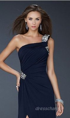 Prom Dress navy blue one strap silver accents