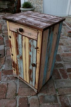 Beach Furniture Farmhouse End Table Storage Shelf Reclaimed Rustic Nightstand Cottage Side Table Liv Reclaimed Wood Furniture, Diy Pallet Furniture, Farmhouse Furniture, Rustic Furniture, Furniture Making, Painted Furniture, Distressed Furniture, Rustic Nightstand, Entryway Furniture