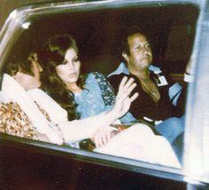 Elvis, Ginger and Joe in the limo after his concert in Cincinnati, Ohio, June 25, 1977