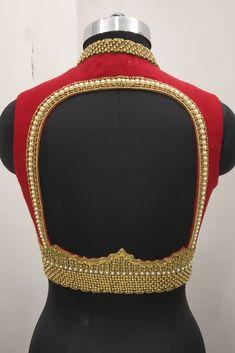 Sleeveless Blouse design, gold beads Silk Saree Blouse Designs, Fancy Blouse Designs, Bridal Blouse Designs, Blouse Neck Designs, Sari Blouse, Hand Work Blouse Design, Stylish Blouse Design, Back Neck Designs, Designer Blouse Patterns
