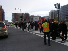 DDOT employees directing large crowds of people on Inauguration Day