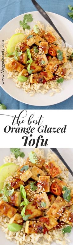 The best ever orange glazed tofu recipe with ginger and garlic. Perfect over simple brown rice or with a bowl of noodles | VeggieSociety.com @VeggieSociety #vegan #plantbased #tofu