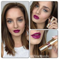 YSL Rouge Volupte No.12 lipstick on Chloe Morello | my God, those lips! ♥ ♥ ♥ [colourmefuchsia]