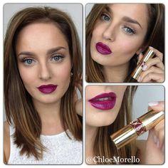 YSL Rouge Volupte No.12 lipstick on Chloe Morello | my God, those lips! ♥ ♥ ♥ [colourmefuchsia]