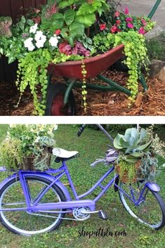 Decorate your backyard or front lawn for cheap with these easy repurposed DIY ideas. Vintage Milk Can, Wheelbarrow Planter, Metal Spring, Cute Signs, Flower Pots, Flowers, Milk Cans, Window Boxes, Birdhouses