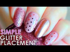 Glitter Placement Nails Tutorial! Simple Nail Art Designs
