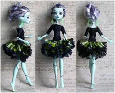 Monster High Clothes hand made Dress Jewelry, dress for Monster Doll, bright lime and balack; by Monstersnight, $12.00 USD