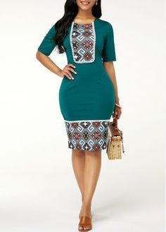 Bodycon Dresses Zipper Back Tribal Print Sheath Dress Short African Dresses, Latest African Fashion Dresses, Women's Fashion Dresses, Sexy Dresses, Trendy Dresses, Short Sleeve Dresses, Dresses With Sleeves, African Print Clothing, African Print Fashion