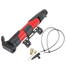 Bomba de aire portátil plegable antideslizante de neumáticos inflador de neumáticos de moto roja