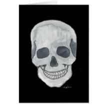 Grey Skull Greeting Card 5 x 7 or Note Card 4 x 5 From an Original Watercolor With Envelope Science Fiction SciFi Horror Steampunk Gothic by MBrothertonArt on Etsy