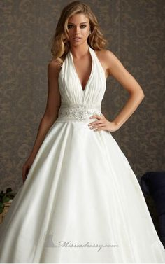 2013 Cinderella wedding dress Ball-gown Floor-length V-neck Dress Ivory the Button Wedding Gowns Beads Belt Sweep Train - Bride - Fashionweddingdress.co.uk