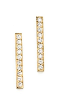Jennifer Meyer 18k Gold Bar Diamond Stud Earrings $800