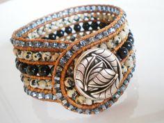 Beaded+Cuff+Bracelet+Gem+Bracelet+Wide+Cuff+5+Row+by+RopesofPearls,+$86.00