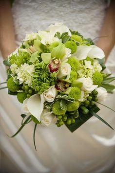 "Ultra Elegant Wedding Bouquet: White Calla Lilies, White Roses, White Hydrangea, Green ""Kermit"" Mums, Green Cymbidium Orchids, Green Spider Mums, Green Hypericum Berries, Green Bush Ivy, Green Lily Grass + Folded Green Aspidistra Leaves ~~"
