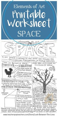 This printable worksheet on the element of art space is perfect for last minute sub plans early finishers or to test your students' understanding of the elements of art. High School Art, Middle School Art, Elements Of Art Space, Space Drawings, Sketchbook Drawings, Art Drawings, Art Handouts, Art Worksheets, Printable Worksheets