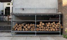 Lumber Storage, Firewood Storage, Pipe Desk, Pipe Table, Black Pipe, Pipe Shelves, Pipe Furniture, Barbacoa, Outdoor Storage