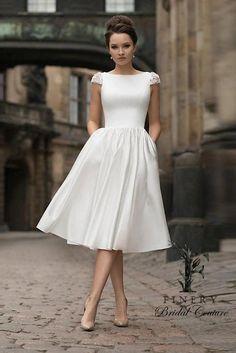 Civil Wedding Dresses, Wedding Dresses Photos, Wedding Gowns, Courthouse Wedding Dress, Wedding Dress With Pockets, Dress Pockets, Informal Weddings, Tea Length Dresses, The Dress