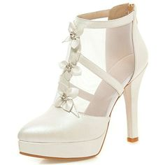 Women's Elegant Flowers Gauze Splicing Back Zipper Ankle Boots Pointed Toe Stiletto High Heel Platform Pumps * Read more at the image link. (This is an affiliate link) #Pumps