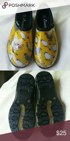 **1 hour sale** Sloggers water shoe Yellow sun and chicken pattern.  Adorable and comfortable.  Never worn.  Size 7. sloggers  Shoes
