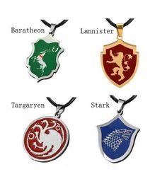 A Song of Ice and Fire Game of Thrones House Sigils badge pendant necklace Game Of Thrones Houses, Badge, Sci Fi, Ice, Pendant Necklace, Songs, Christmas Ornaments, Holiday Decor, Fantasy