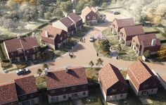 Mohsin Cooper wins unanimous backing for semi-rural West Sussex homes Cluster House, Community Housing, Urban Village, Suburban House, Urban Fabric, Urban Architecture, Types Of Houses, Urban Planning, Aerial View
