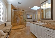 Award-winning L-shaped master bath completed in 2010 by Tenhulzen Remodeling.