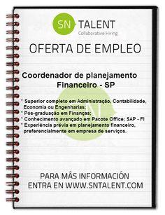 #Empleo Coordenador de Planejamento #Financeiro en #Brasil SP