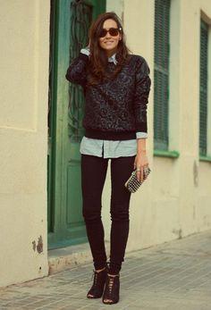 black & white jumper. shirt. black pants