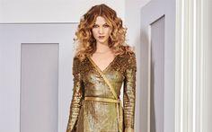 Download wallpapers Karlie Kloss, portrait, american model, golden dress with sparkles, evening make-up, blondes