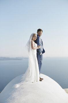 Island Wedding, Bride And Groom, Wedding Dress, Couple,  Santorini, Caldera, Sea