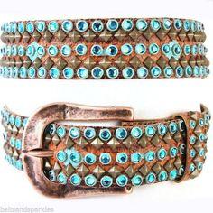 Kippys Kippy Swarovski Crystal Leather Belt 36 XL New